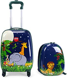 2PCS Kids Luggage Set Carry On with Spinner Wheels & Cute Elephant and lion Pattern, Adjustable Trolley Rod Height & Backpack Shoulder Strap, Kids Luggage Set Made of ABS, Polycarbonate & Nylon Material