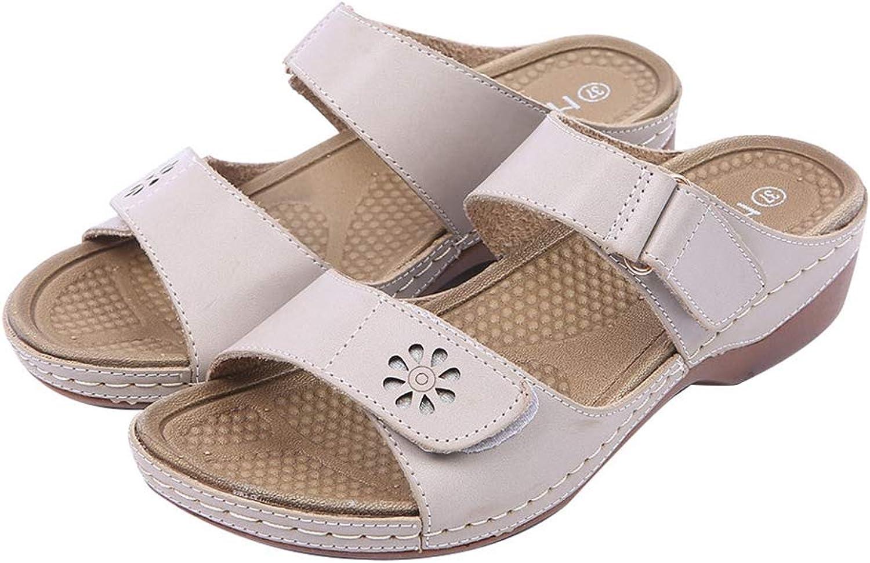 Btrada Women Slippers Platform Casual Rome Sewing Square Heels Leisure Summer Hook Loop Lightweight shoes