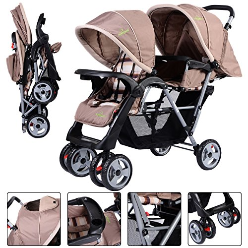 Buy Discount Foldable Twin Baby Double Stroller Kids Jogger Travel Infant Pushchair Gray