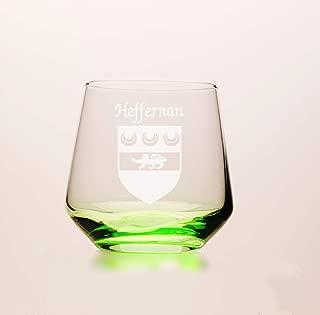 Heffernan Irish Coat of Arms Green Tumbler Glasses - Set of 4 (Sand Etched)