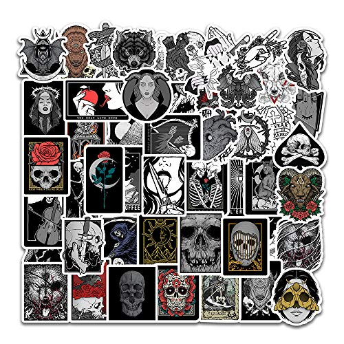50 Pcs Vinyl Gothic Stickers Trippy Gothic Stickers Waterproof Gothic Skull Sticker Pack for Water Bottle Hydro Flask Laptop Skateboard Luggage Bike Car