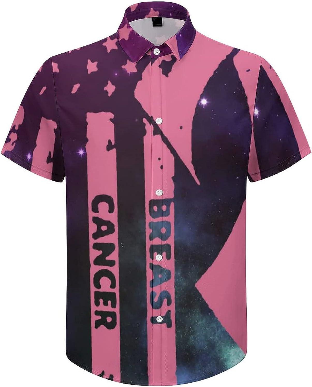 Mens Button Down Shirt Breast Cancer Awareness Flag Ribbon Casual Summer Beach Shirts Tops