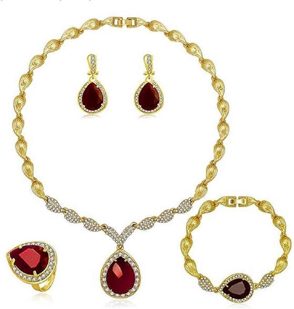 Women Jewelry Set Gold Bride Wedding Big Red Crystal Choker Necklace Earrings Rings Bracelets