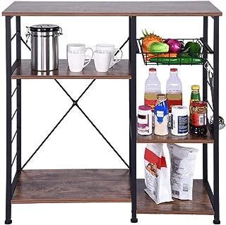 GXOK Vintage Kitchen Rack Microwave Oven Stand Metal Frame Storage Shelf Utility Storage Shelf[Ship from USA Directly]