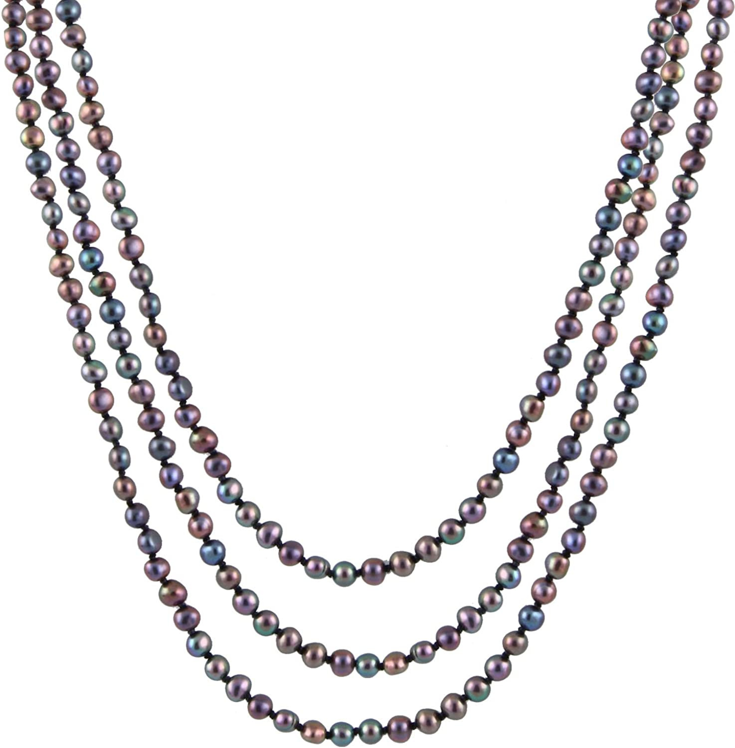 Handpicked A Quality Black Freshwater Cultured Pearl Strand Endless 80