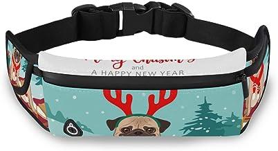 Vrolijk Kerstmis Dier Hond Pug Taille Pack Tas voor Fietsen Fitness Oefening Waterdichte Verstelbare Workout Fanny Pack Vr...