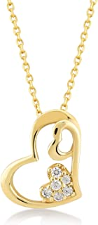 14k Solid Tiny Three Heart Necklace | Certified Gold Heart Necklace for Women