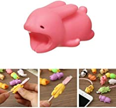 DECVO Cable Protector for iPhone iPad Cable Android Samsung Galaxy Cord Plastic Cute Land Animals Phone Accessory Protects USB Charger Data Protection Cover Chewers Earphone Cable Bite (Rabbit)