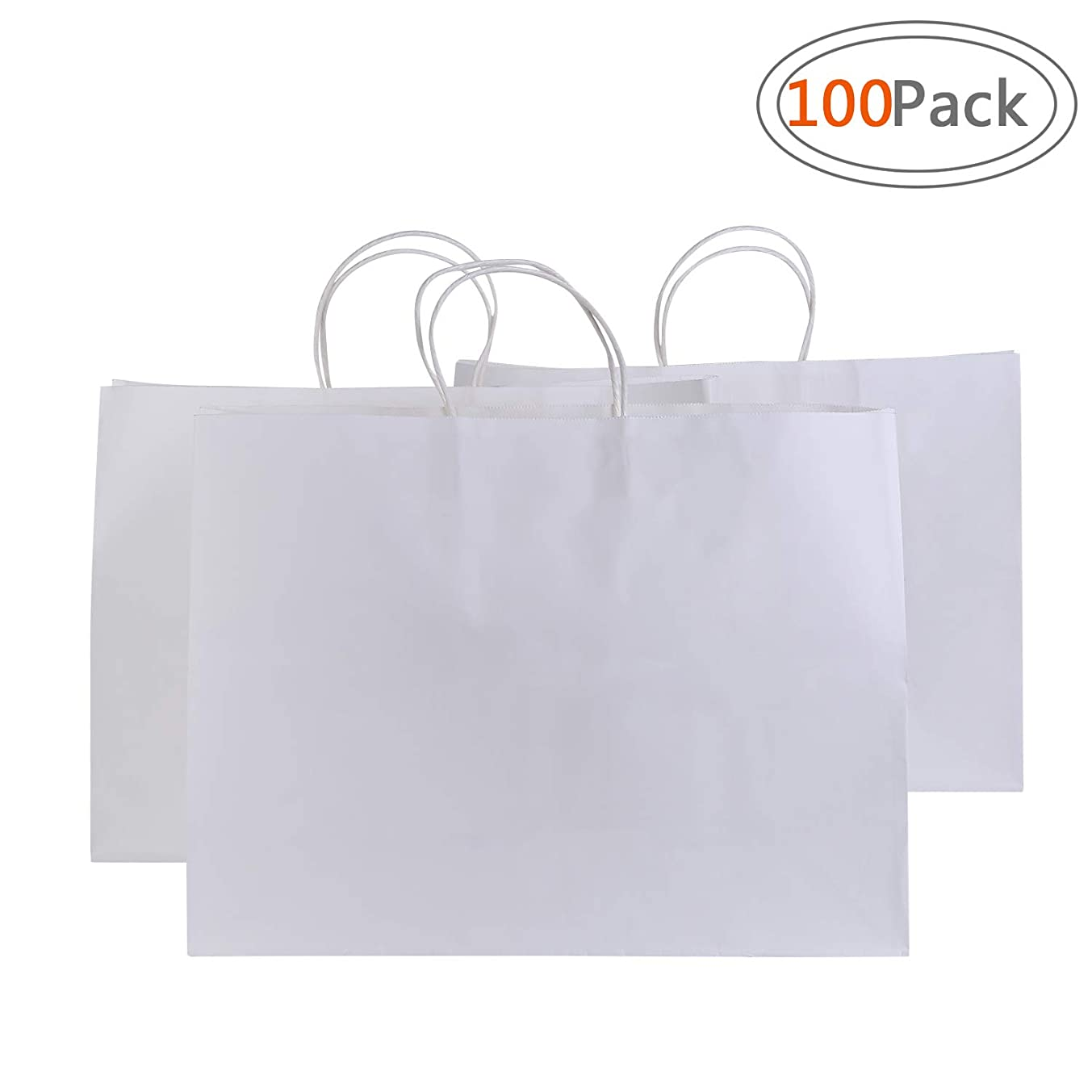 Road 16x6x12 Inches 100 Pcs Large Kraft White Paper Bags with Handles, Shopping, Grocery, Mechandise, Party Bags