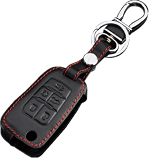 Rpkey Leather Keyless Entry Remote Control Key Fob Cover Case protector For Chevrolet Cruze Equinox Impala Malibu Sonic GMC Terrain Buick Encore LaCrosse Regal Verano OHT01060512 (black)