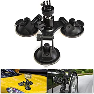 Suction Cup Mount for Gopro, leegoal Tri-Cup Action Camera Holder DSLR Camcorder Stand for Car, Glass, Window, Compatible ...