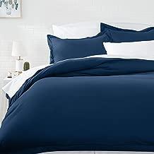 AmazonBasics Microfiber Duvet Cover Set - Twin/Twin XL, Navy Blue (167.6 cm X 228.6 cm) Duvet Cover and (50.8 cm X 66 cm) Pillow Cover