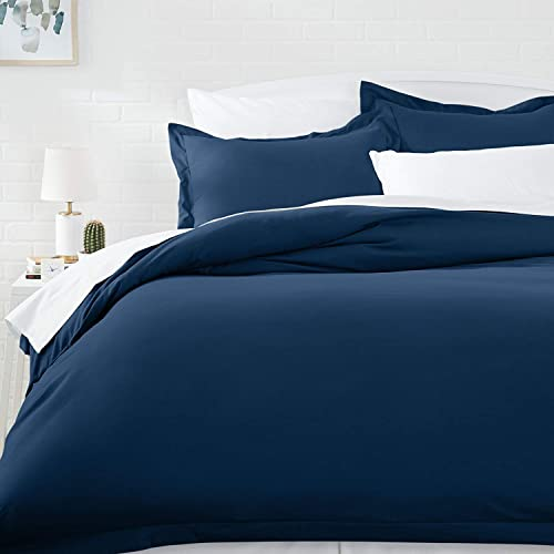 5e21e390f9 AmazonBasics Microfiber Duvet Cover Set - Twin/Twin XL, Navy Blue (167.6 cm
