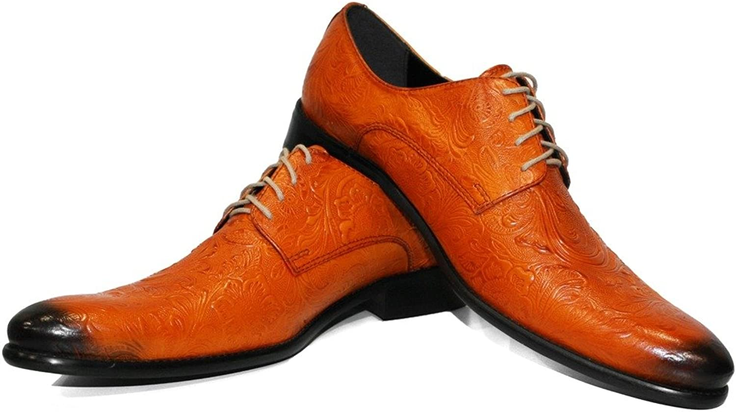 Modello Vigouro - Handmade Italian Leather Mens color orange Oxfords Dress shoes - Cowhide Embossed Leather - Lace-Up