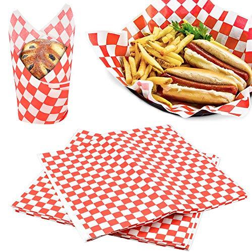 AFASOES 100 Stück Checkered Deli Basket Liner Lebensmittelverpackung Papier für Lebensmittel Fettbeständig Wrap Papier Kariertes Lebensmittel Papier für Sandwich Fast Food Snacks Brot Hamburger