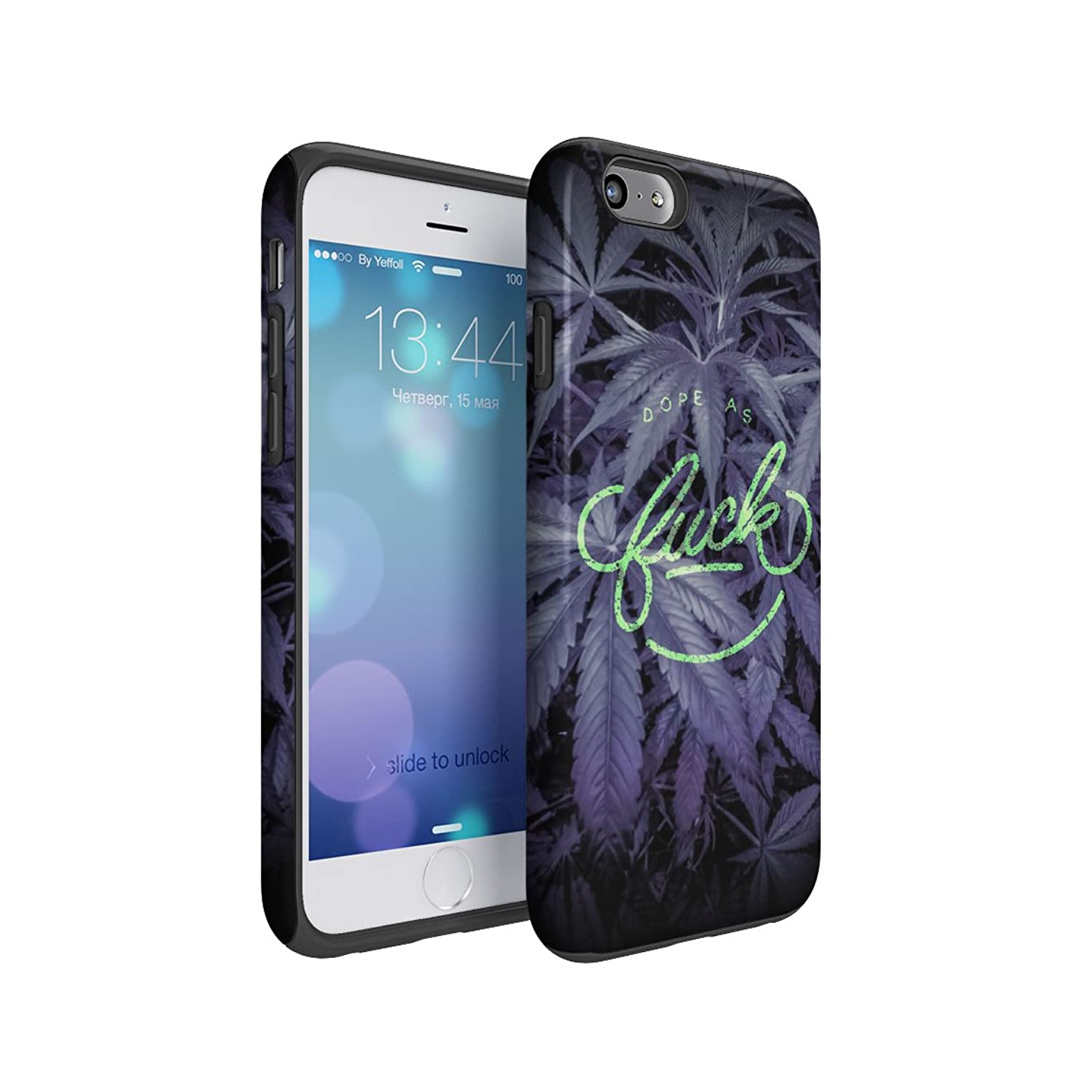 Dope As Fuck Cannabis Leaves Hard Plastic Shell & TPU Bumper Double Layer Tough Phone Case For Apple iPhone 6 & iPhone 6s