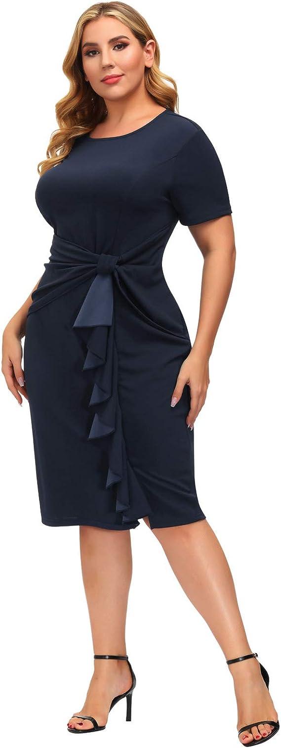 1980s Clothing, Fashion | 80s Style Clothes Hanna Nikole Womens Plus Size 50s Vintage Ruffle Peplum Cocktail Pencil Knee Dress  AT vintagedancer.com