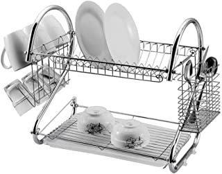 2-Layer Dish Drainer, Sonmer S-shaped Dual Layers Dish Drying Rack Kitchen Collection Shelf Drainer Organizer - Ship from US