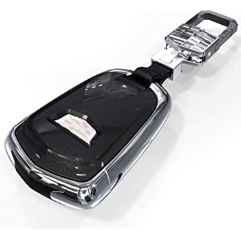 Almoo KC-K-CB Carbon Fiber Texture Remote Key Fob Case Cover Holder Glossy Shell for Cadillac ATX CTS CT6 ELR XTS XT5 SRX Escalade 2015-2019