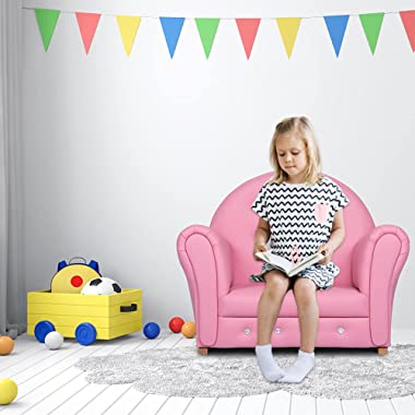 Kinsuite Children's Sofa Rocking Chair, Cute PU Soft Leather Sofa, Crystal Embedded in The Sofa, High-Back Armrests, Suitable