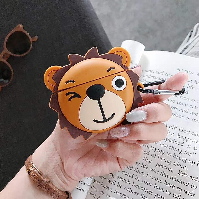 マイク援助そっとAirPodsケース Airpodsアクセサリー エアポッドケース 保護カバー シリコーンカバー フック付き Apple Bluetooth 5th Generationヘッドフォンケースに適用 (黄色いクマ)