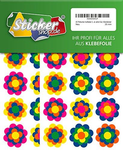 45 Prilblumen Aufkleber 35 mm, Retro Style 70er Jahre Kult, Wandsticker