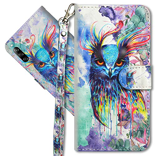 MRSTER Sony Xperia L4 Handytasche, Leder Schutzhülle Brieftasche Hülle Flip Hülle 3D Muster Cover mit Kartenfach Magnet Tasche Handyhüllen für Sony Xperia L4. YX 3D Colorful Owl