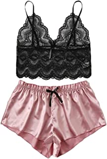 Vedolay Lingerie for Women for Sex Womens Lingerie Corset Lace Hole Underwire Racy Muslin Sleepwear Underwear Tops+Briefs