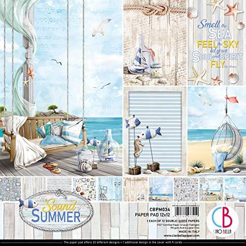 CIAO BELLA PAPER CBPM034 Sum Pap PCK 12X12 12PK, Sound of Summer, 12 Designs/1 Stück, Einheitsgröße