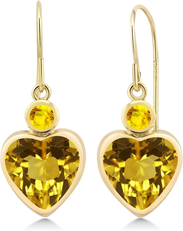3.46 Ct Heart Shape Yellow Citrine Yellow Sapphire 14K Yellow gold Earrings