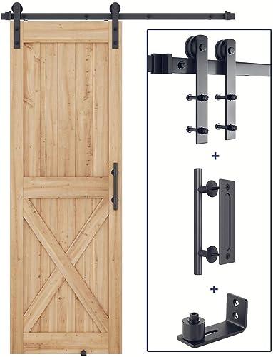 "2021 5 FT new arrival Heavy Duty Sturdy Sliding Barn Door Hardware Whole Kit + Barn Door Bottom Adjustable Floor Guide Roller + 12"" Pull and Flush Barn new arrival Door Handle Set online sale"