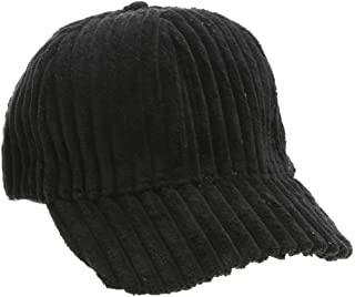 0e54af9a Housesczar Unisex Casual Stripe Corduroy Baseball Cap Hip Hop Curved Brim  Hat(Black)