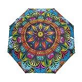 RELEESSS Paraguas plegable de viaje, diseño floral mandala, compacto, resistente al viento, portátil, para mujeres y hombres, unisex