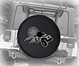 Vintage Compass and Mountains Off Road 4x4 Car Rough Terrain Vehicle Adventure Out West JL Spare Tire Cover with Backup Camera Hole BUC (Fits: Jeep JL Accessories) Black Size 33 Inch