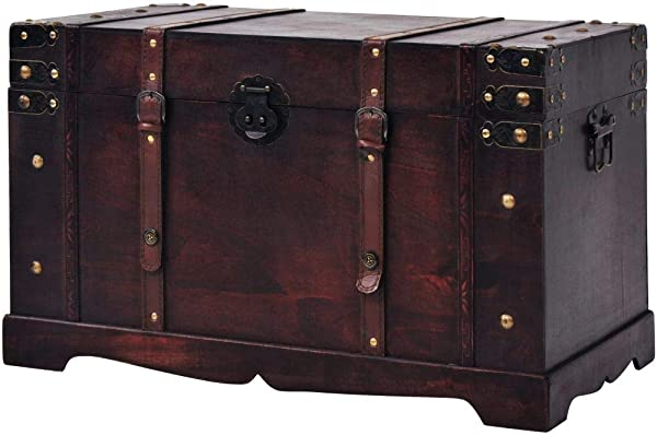Storage Trunk Wood Antique Treasure Chest Large Storage Furniture For Bedroom Living Room Brown 26 X15 X15 7