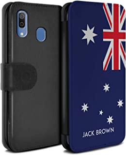 Personalized Custom National Nation Flag 3 PU Leather Case for Samsung Galaxy A20e 2019 / Australia/Australian Design/Initial/Name/Text DIY Wallet/Cover
