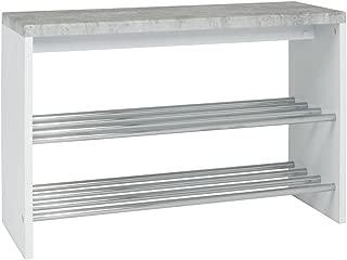 HAKU Furniture Banco para 6Pares de Zapatos, Metal, hormigón Fibra/Blanco/Cromo, 30x 81x 55cm