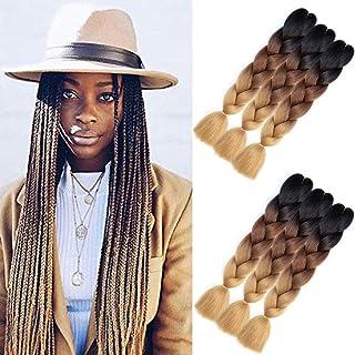 AQINBEL Braiding Hair 24 Inch 6PCS/Lot Ombre Jumbo Braids Hair Extension Kanekalon High Temperature Jumbo Braids for Twist Crochet Braiding Hair(Black to Dark Brown to Light Brown)