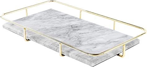 MyGift Marble Vanity Organizer Tray with Polished Gold-Tone Metal Rail