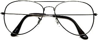 Black Aviator Medical Glasses For Unisex, Clear