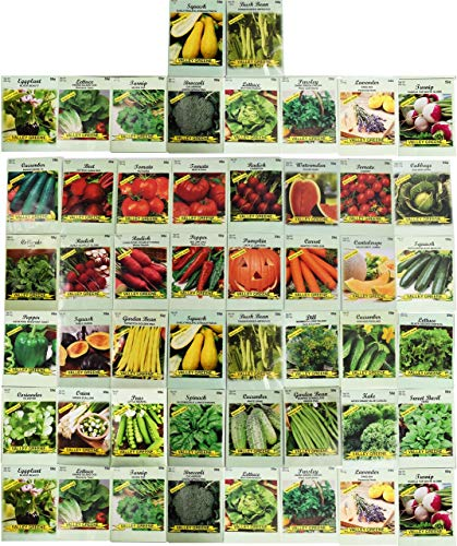 50 Packs Assorted Heirloom Vegetable Seeds 20+ Varieties All Seeds