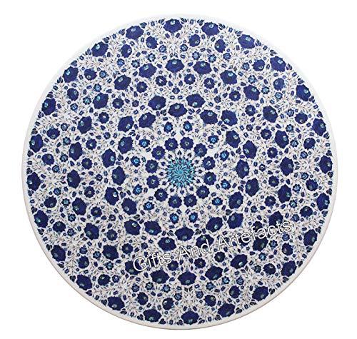 Regalos y Artefacts 60 pulgadas blanco redonda mesa de centro mesa de mármol mesa de conferencias lapislázuli piedras preciosas incrustadas
