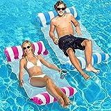 Amaca Gonfiabile Piscina, Letto Galleggiante 4 in 1 Facile Gonfiabile per Adulti, Amaca d'Acqua Premium Materassino Lettino Sdraio per Piscina Spiaggia Mare blu