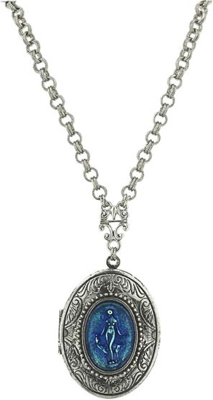 1928 Jewelry Bellissima Blue Champlev? Locket Necklace