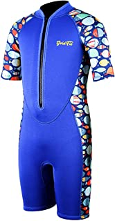 Kids Wetsuit Shorty Thermal Swimsuit, 3mm 2mm Neoprene Suit Front Zip for Boys Girls Toddler Youth Swimming,Diving,Snorkeling,Surfing, SS005