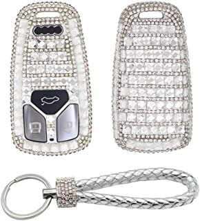 Thor-Ind Bling Crystal Key Fob Cover Case Keychain Fit for Audi A4 Q7 Q5 TT A3 A6 SQ5 R8 S5 Smart Key 2016-UP (Silver)
