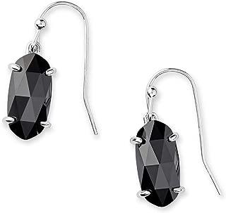Kendra Scott Lemmi Drop Earrings in Black Opaque Glass, Rhodium Plated