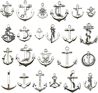 100g (about 50pcs) Craft Supplies Antique Silver Ship Wheel Anchor Charms Pendants for Crafting, Jewelry Findings Making Accessory For DIY Necklace Bracelet m63 (Antique Silver Anchor)