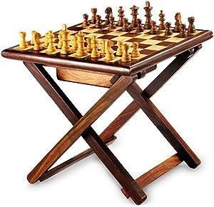 Stylla Londres Hecho a Mano de Palisandro Cruz Pierna Plegable Mesa de café Juego de ajedrez, Madera, marrón, 16,3x 12.83X 3,31cm