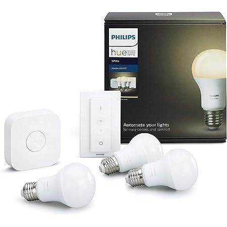 Philips Hue White - Set de 3 bombillas LED E27 con puente e interruptor, 9.5 W, iluminación inteligente, luz blanca cálida regulable, compatible con Apple Homekit y Google Home